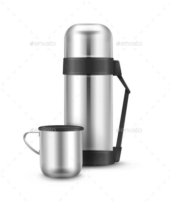 Metal Thermos Flask - Food Objects