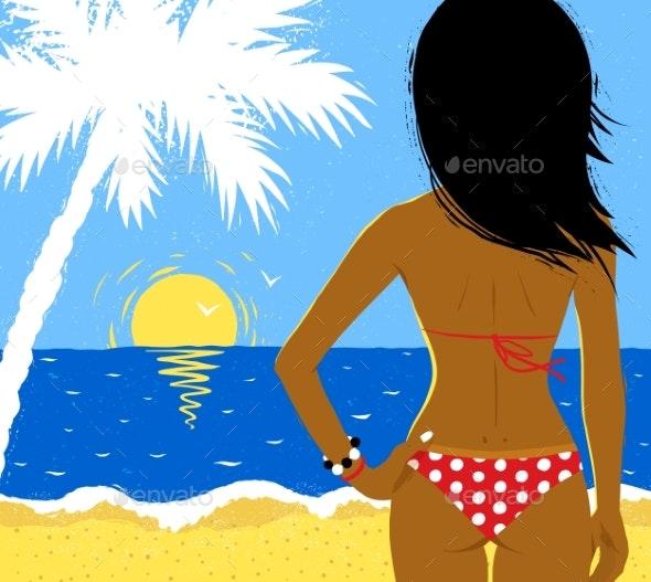 Vector Illustration of Girl on Beach - Travel Conceptual