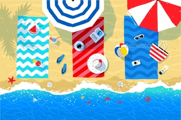 Beach Mats and Accessories on Sand - Travel Conceptual