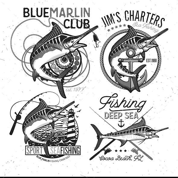 Fishing Vector Logo. Blue Marlin or Swordfish icons.