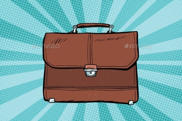 Business Leather Briefcase - Objects Vectors