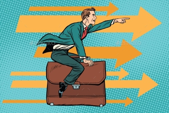 Businessman Flying on a Leather Business Briefcase - Business Conceptual