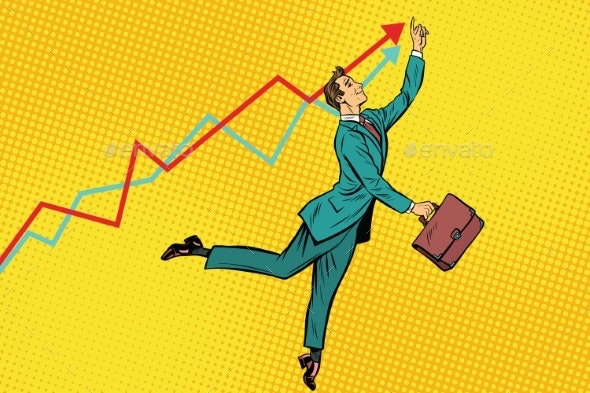 Funny Businessman Strives for High Results - Business Conceptual
