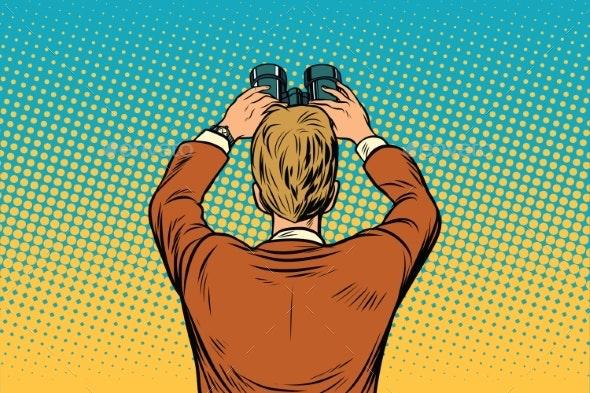 Lookout Businessman with Binoculars - Business Conceptual