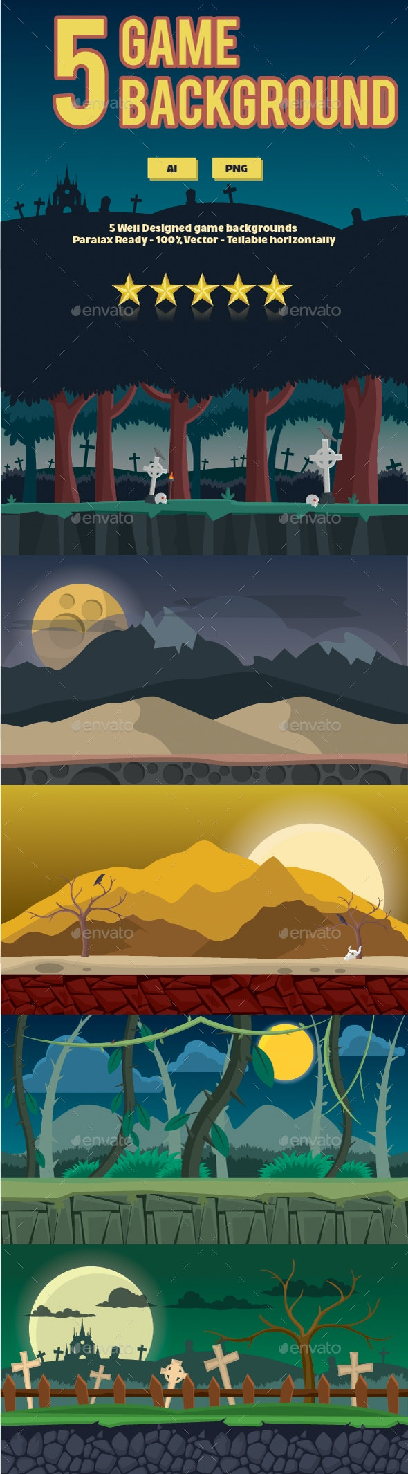 Night Game Background - Backgrounds Game Assets
