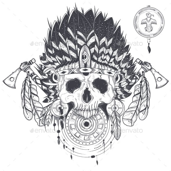 Vector Illustration of a Human Skull in an Indian