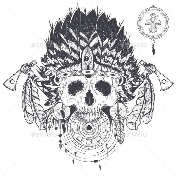 Vector Illustration of a Human Skull in an Indian - Tattoos Vectors