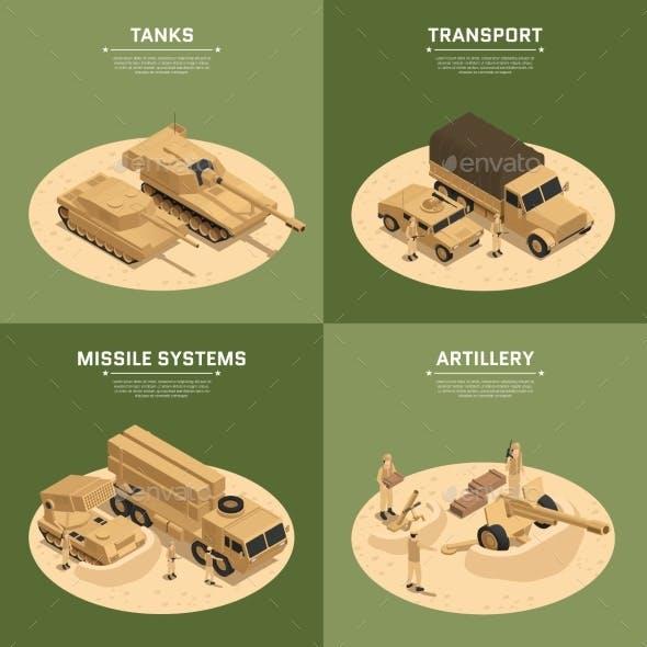 Square Military Vehicles Isometric Icon Set
