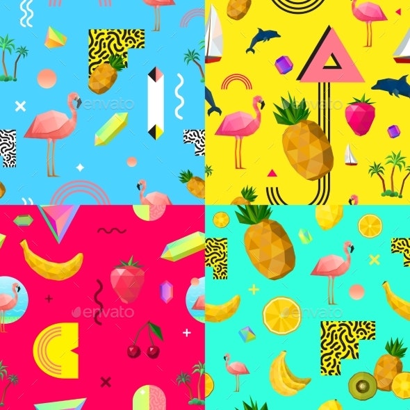 Decorative Colorful Seamless Patterns Set - Backgrounds Decorative
