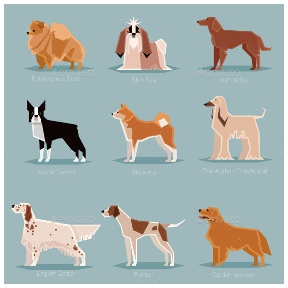 Dog Flat Icons Set - Animals Characters