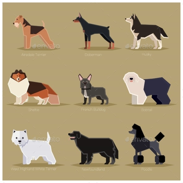 Dog Flat Icons Set - Animals Characters