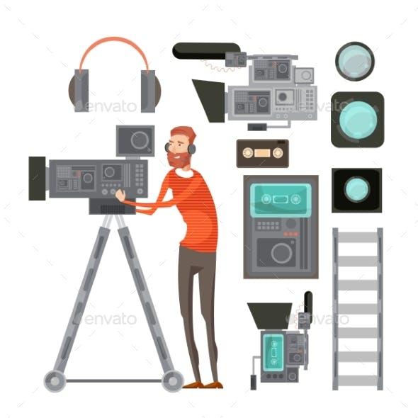Film Cameraman With Video Equipment