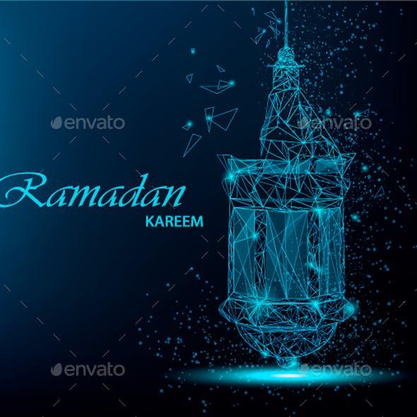 Polygonal lantern for Ramadan Kareem