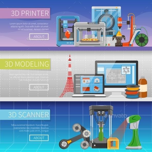 3D Printing Horizontal Banners - Backgrounds Decorative