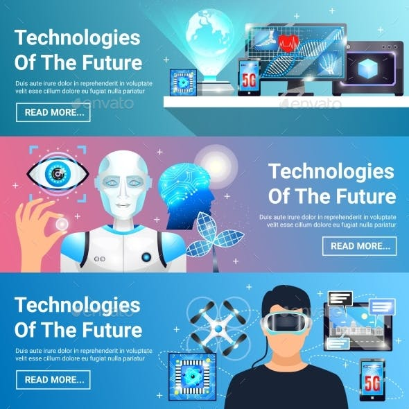 Future Technologies Banners Set