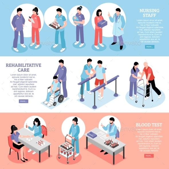 Hospital Horizontal Isomeric Banners Set - Health/Medicine Conceptual