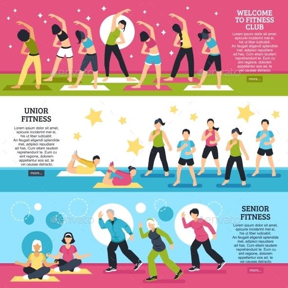 Fitness Classes Horizontal Banners Set - Sports/Activity Conceptual