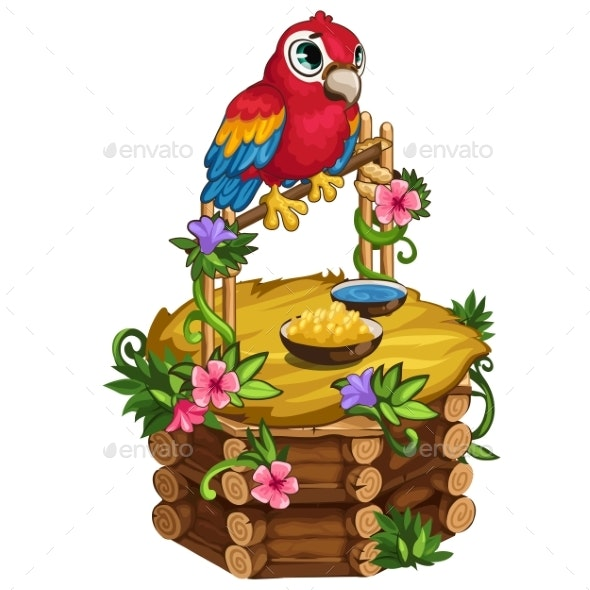 Tropical Parrot Sits on a Beautiful Wooden Perch - Animals Characters