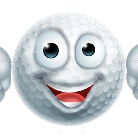 Cartoon Golf Ball Man Character