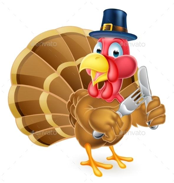 Pilgrim Hat Thanksgiving Cartoon Turkey Holding - Animals Characters