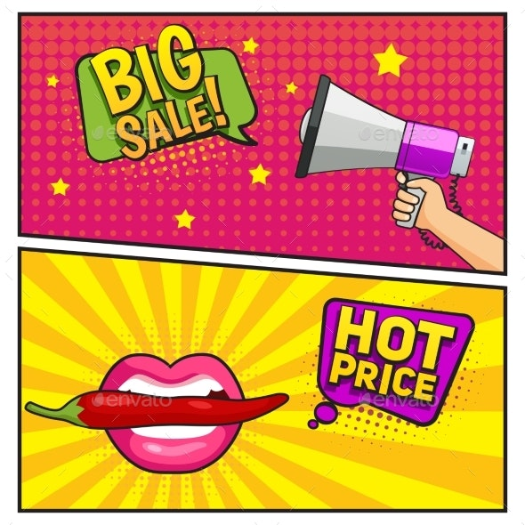 Big Sale Comic Style Banners - Business Conceptual