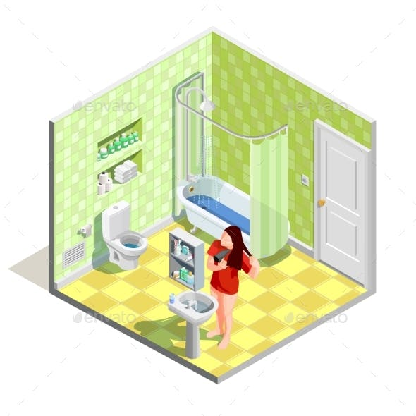 Bathroom Tinker Isometric Composition