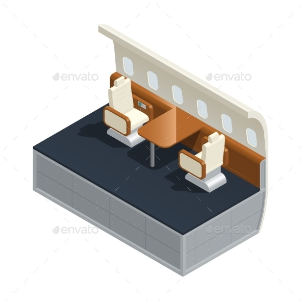 Airplane Interior Isometric Composition - Objects Vectors