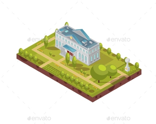 Historic University Building Isometric Layout - Buildings Objects