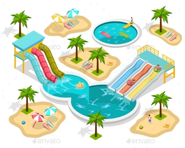 Isometric Aqua Park Composition - Seasons/Holidays Conceptual