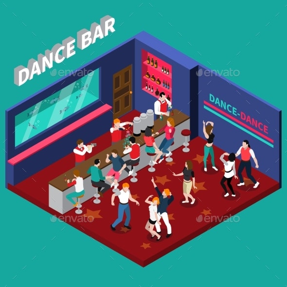 Dance Bar Isometric Composition - Food Objects