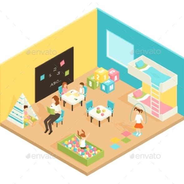 Kindergarten Play Room Isometric Design Concept