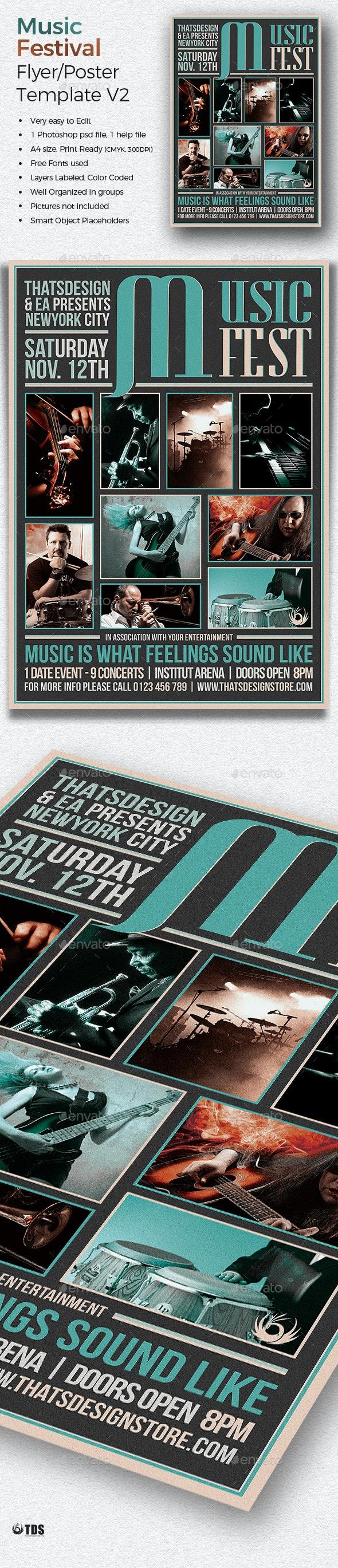 Music Festival Flyer Template V2 - Concerts Events