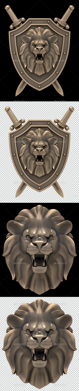 Lion's Head Blazon - Objects 3D Renders
