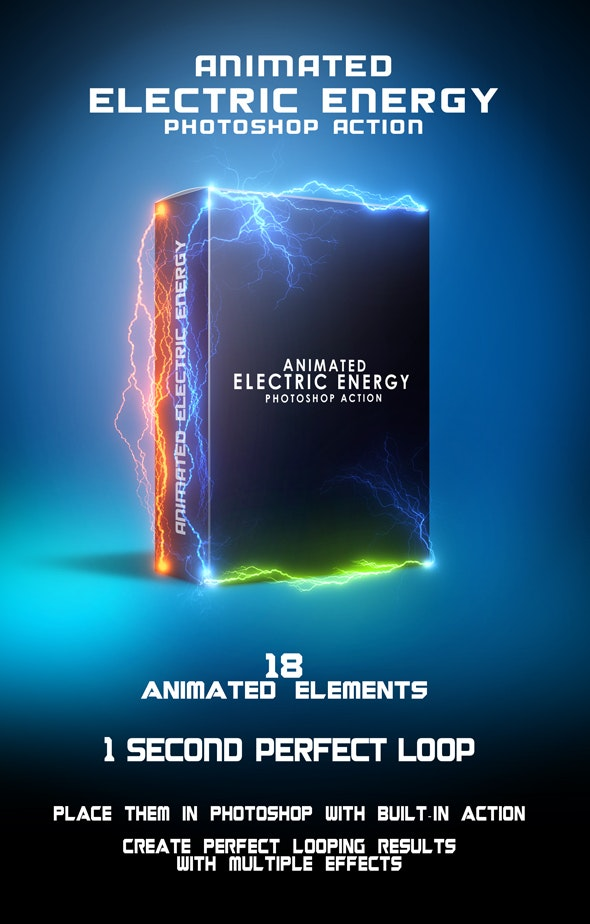 Animated Electric Energy Photoshop Action - Photo Effects Actions