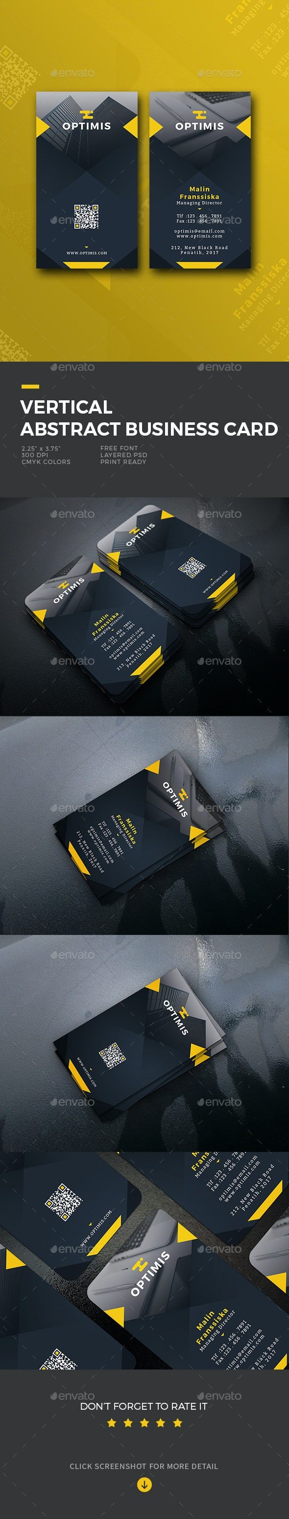 Vertical Abstract Business Card - Business Cards Print Templates