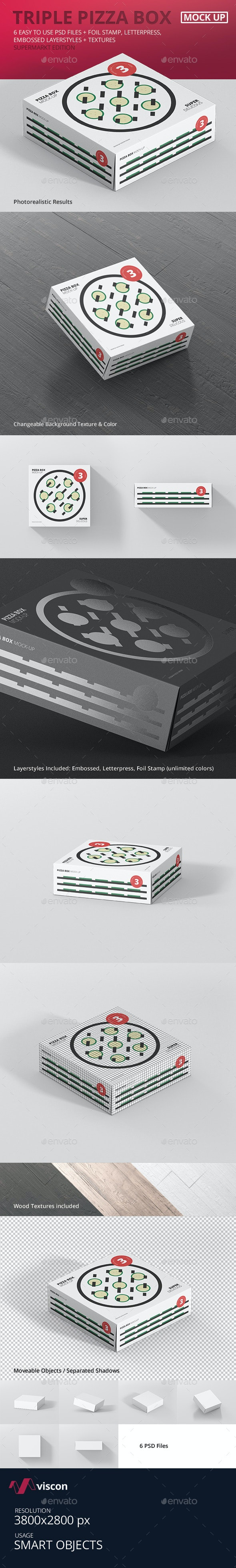 Pizza Box Mock-Up - Triple Pack Supermarket Edition - Food and Drink Packaging