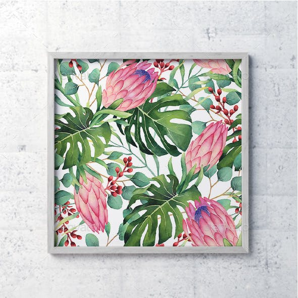 Watercolor Tropical Flowers Pattern