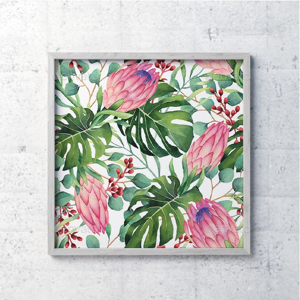 Watercolor Tropical Flowers Pattern - Patterns Backgrounds