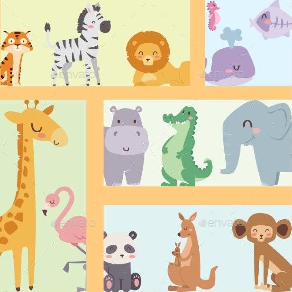 Zoo Cartoon Animals Isolated Wildlife - Animals Characters
