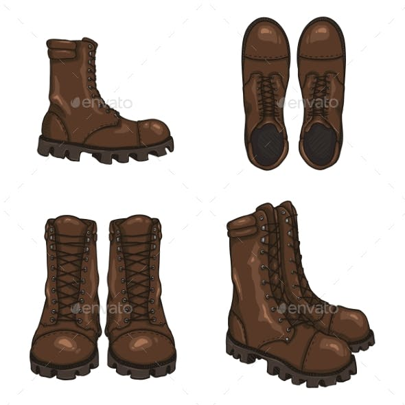 Set of Vector Cartoon Army Boots