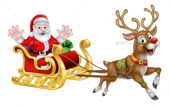 Christmas Cartoon Santa And Reindeer Sleigh