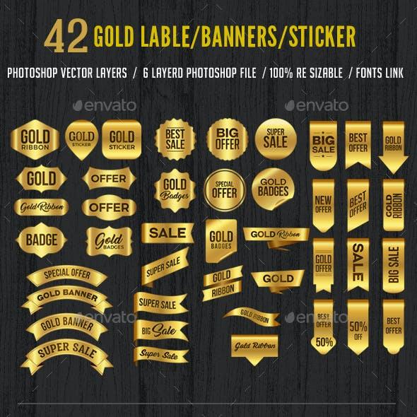 42 Gold Label Banner Sticker Ribbons Set