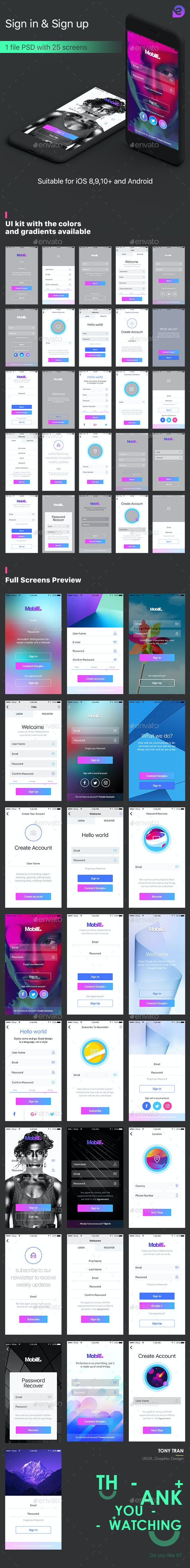 Mobile Theme UI Kit | Sign in & Sign up - User Interfaces Web Elements