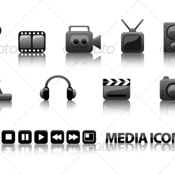 Glossy Media Icons - video, audio, games 16 pcs.