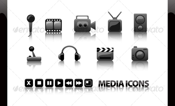 Glossy Media Icons - video, audio, games 16 pcs. - Media Icons