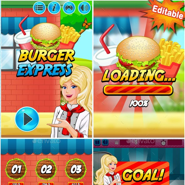 2D Mobile Game Kit - Burger Express