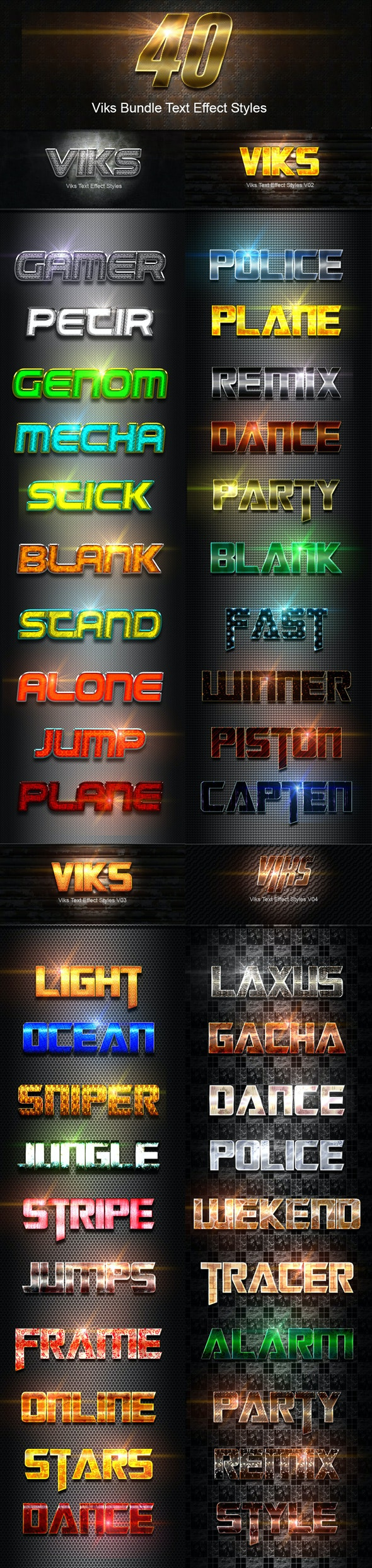 40 Viks Bundle Text Effect Styles - Text Effects Styles