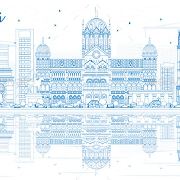 Outline Mumbai Skyline with Blue Landmarks and Reflections
