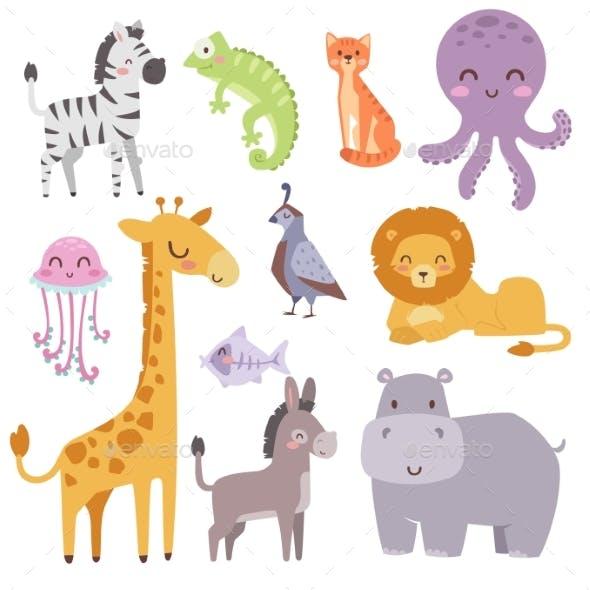 Zoo Cartoon Animals Isolated Wildlife