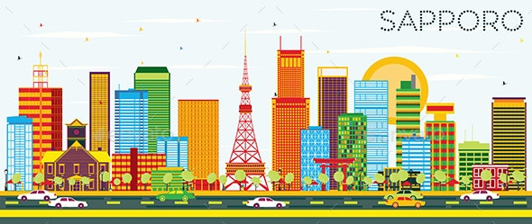 Sapporo Skyline with Color Buildings and Blue Sky - Buildings Objects